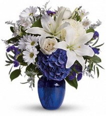 Teleflora's Beautiful In Blue Vased Arrangement