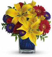Teleflora's  Blue Carribean Fresh Flowers in a Keepsake Cube