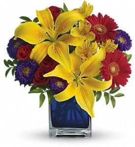 Teleflora's  Blue Carribean Fresh Flowers in a Keepsake Cube