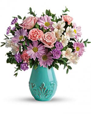 Teleflora's Blushing Aqua Bouquet Fresh Mixed Flower Arrangement in Auburndale, FL | The House of Flowers