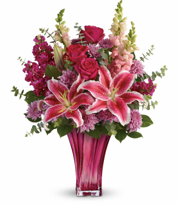Teleflora's Bold Elegance Bouquet Beautiful Hot Pink Vase with Mixed Flower Arrangement