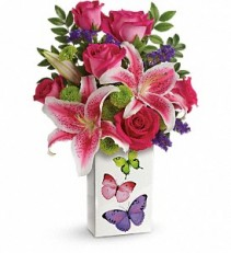 Teleflora's Brilliant Butterflies Bouquet Vase Arrangment, Rose