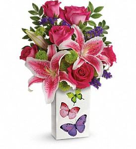 Teleflora's Brilliant Butterflies Bouquet Vase Arrangment, Rose