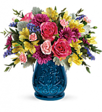 Burst Of Blue Bouquet Fresh arrangenment