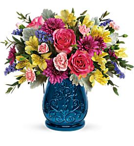 Burst Of Blue Bouquet Fresh arrangenment