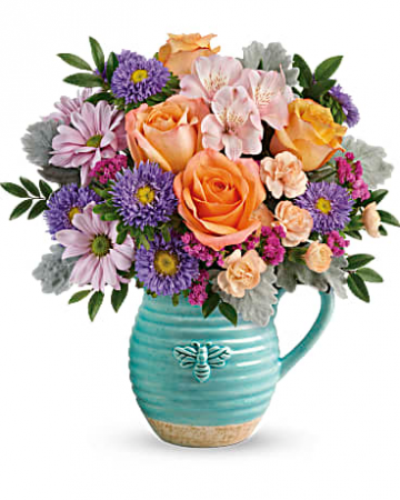 Teleflora's Busy Bee Pitcher Bouquet Mother's Day / All Occasions