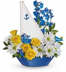 Teleflora's Captain Carefree Sail Boat Arrangement