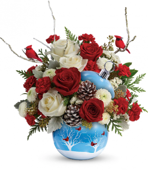 Teleflora's Cardinals In The Snow Ornament  in Longwood, FL | Novelties By Nadia Flowers & More