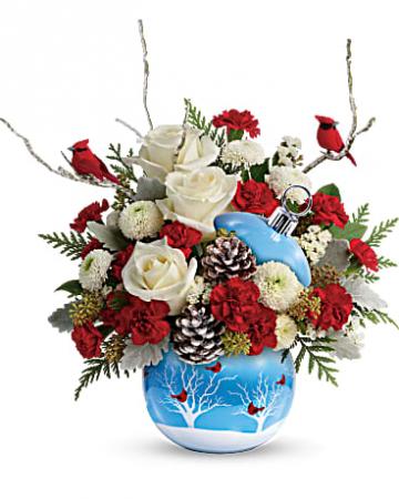 Teleflora's Cardinals In The Snow Ornament Arrangement