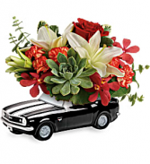 Teleflora's Chevy Camaro Blooming Bouquet Fresh Flower and Succulent