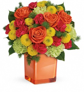 Teleflora's Citrus Smiles Cube Arrangement