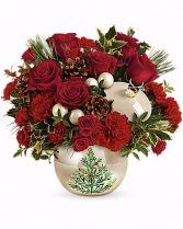 Teleflora's Classic Pearl Ornament Bouquet Christmas Arragnement