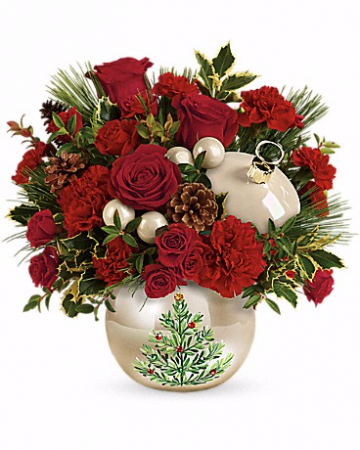 Teleflora's Classic Pearl Ornament Bouquet Christmas