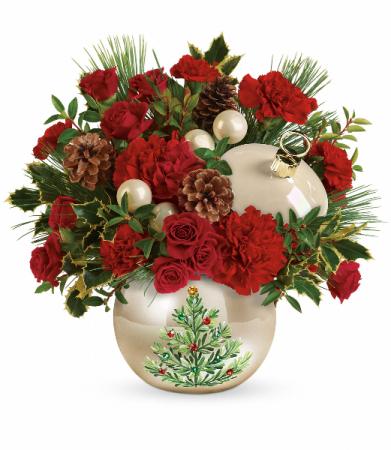 Teleflora's Classic Pearl Ornament Bouquet Christmas Arrangement
