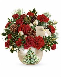 Teleflora's Classic Pearl Ornament Christmas arrangement