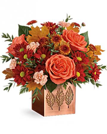 Teleflora's Copper Petals Bouquet Cube