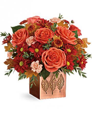 Teleflora's Copper Petals Fall Fresh Arrangement