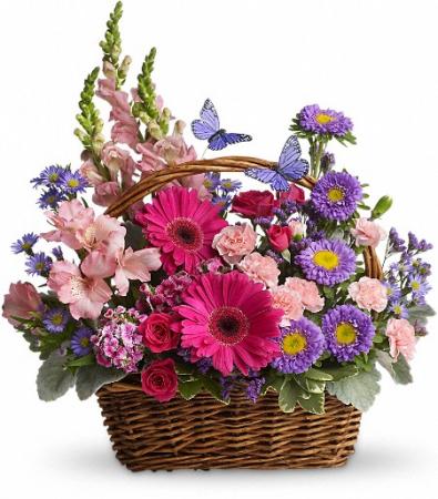 Country Basket Blooms Fresh Floral Basket