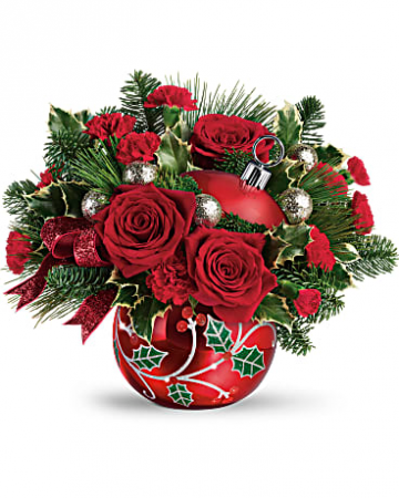 Teleflora's Deck The Holly Ornament Bouquet Center Piece