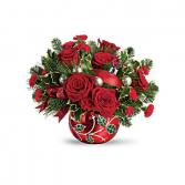 Teleflora's Deck The Holly Ornament Bouquet Christmas Fresh Arrangement