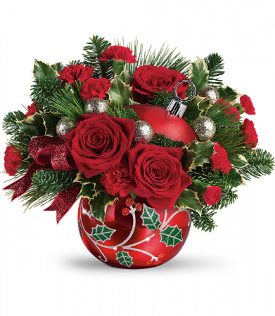 Teleflora's Deck The Holly Ornament Holiday Arrangement (Out of stock)