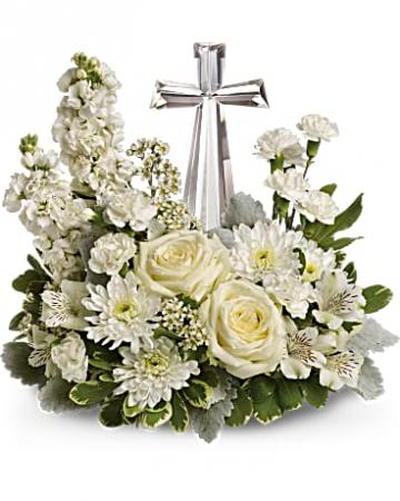 "Teleflora's Divine Peace Bouquet 7"" Crystal Cross"