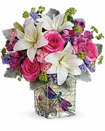 Teleflora's Garden Poetry Bouquet Fresh cube arrangement