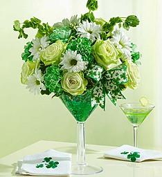 Drink In The Green Flower Arrangement