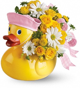 Teleflora's Ducky Delight Girl Ceremic Duck Arrangement in Auburndale, FL | The House of Flowers