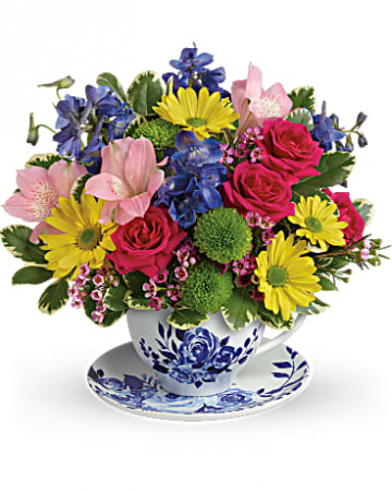 Teleflora's Dutch Garden Bouquet tea cup arrangement