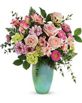 Teleflora's Enamored Aqua Bouquet vase arrangment