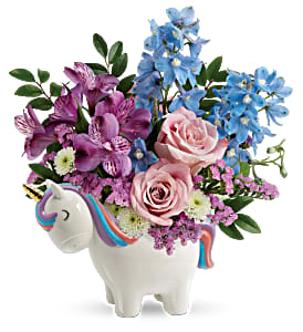 Teleflora's Enchanting Pastel Unicorn Fresh Flowers in Keepsake Container