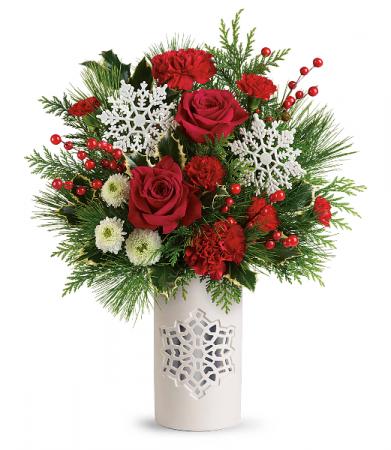 Teleflora's Flurry Of Elegance Bouquet Christmas Arrangement