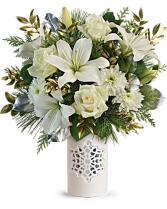 Teleflora's Flurry Of Elegance Bouquet Porcelain Cylinder Vase