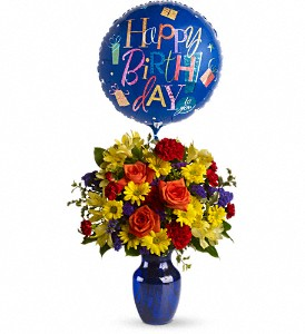Teleflora's Fly Away Birthday Bouquet Vased Arrangement in Auburndale, FL | The House of Flowers