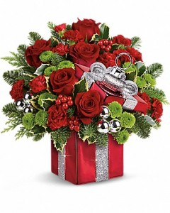 Teleflora's Gift Wrapped Bouquet Holiday Arrangement