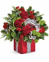 Teleflora's Gift Wrapped Bouquet  Christmas arrangement