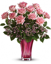 Teleflora's Glorious You Bouquet 12 Pink Roses in beautiful pink vase