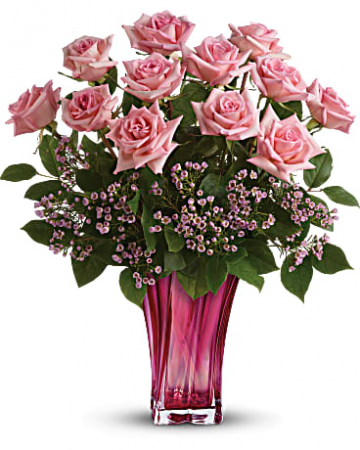 Teleflora S Glorious You Bouquet 12 Pink Roses In Beautiful Vase