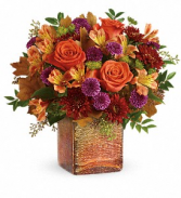 Teleflora's Golden Amber Bouquet Fresh Flowers in a Keepsake Cube