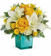 Teleflora's Golden Laughter Cube arrangement-fresh