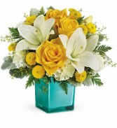 Teleflora's Golden Laughter cube arrangement fresh