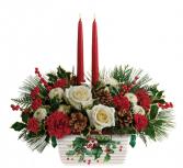 Teleflora's Halls of Holly Centerpiece Christmas arrangement