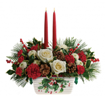 Teleflora's Halls of Holly Centerpiece Christmas arrangement
