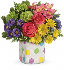 Teleflora's Happy Dots Fresh Arrangement with a Teleflora Keepsake