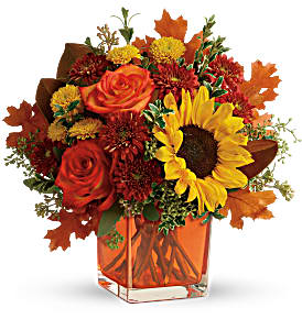 Teleflora's Hello Autumn Fresh Flowers in Cube