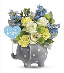 Teleflora's Hello sweet baby blue. Fresh