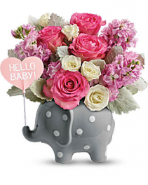 Teleflora's Hello Sweet Baby - Girl  Flower arrangement