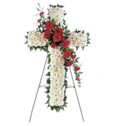 Teleflora's Hope and Honor Cross Fresh standing spray sympathy