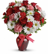 Hugs and Kisses Bouquet with Red Rose Vase Arrangement